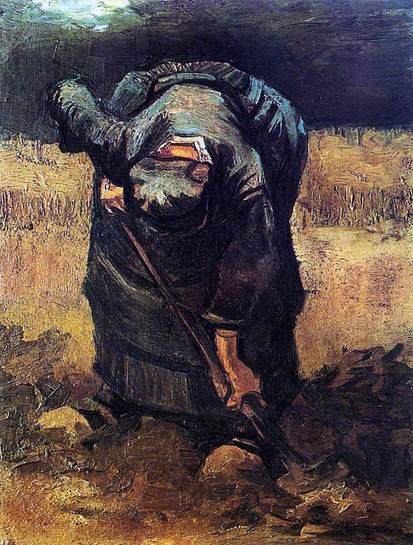 Vincent Van Gogh Peasant Woman Digging - Canvas Art Print