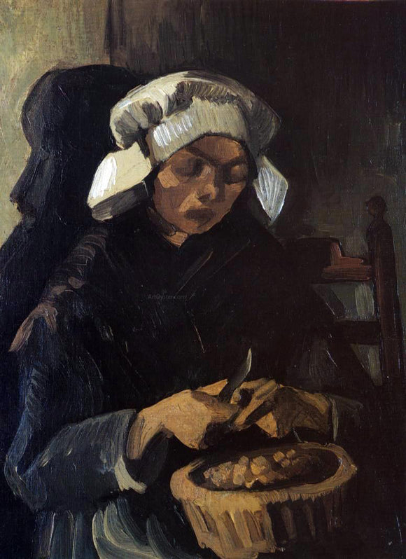 Vincent Van Gogh Peasant Woman Peeling Potatoes - Canvas Art Print