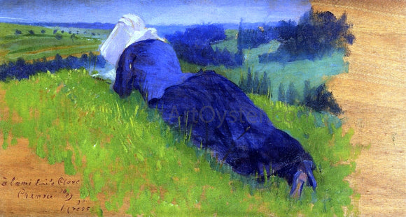 Henri Edmond Cross Peasant Woman Stretched Out on the Grass - Canvas Art Print