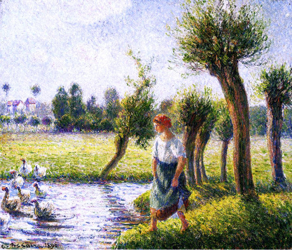 Camille Pissarro Peasant Woman Watching the Geese - Canvas Art Print