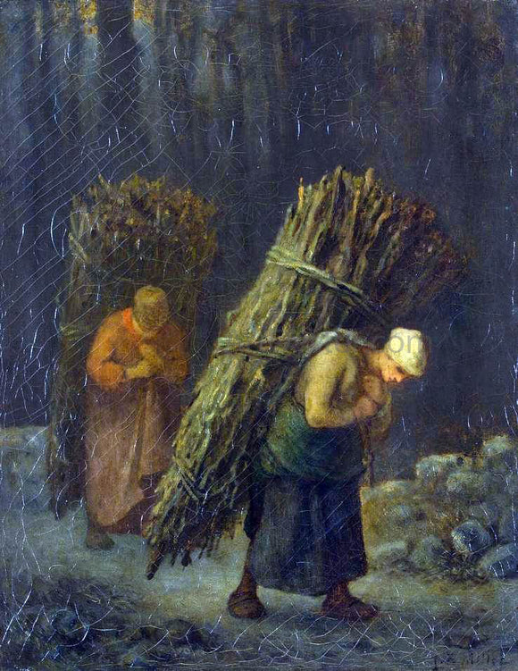 Jean-Francois Millet Peasant-Girls with Brushwood - Canvas Art Print