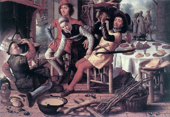 Pieter Aertsen Peasants by the Hearth - Canvas Art Print