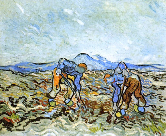Vincent Van Gogh Peasants Digging up  Potatoes - Canvas Art Print