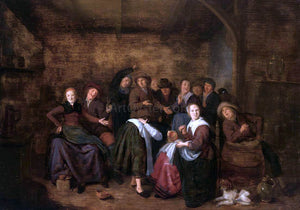 "Jan Miense Molenaer Peasants in an Inn Playing ""La Main Chaude"" - Canvas Art Print"