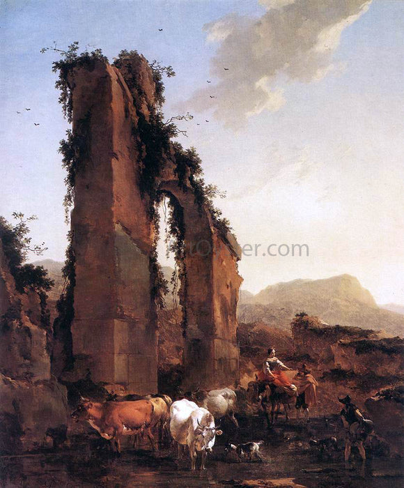 Nicolaes Berchem Peasants with Cattle by a Ruined Aqueduct - Canvas Art Print