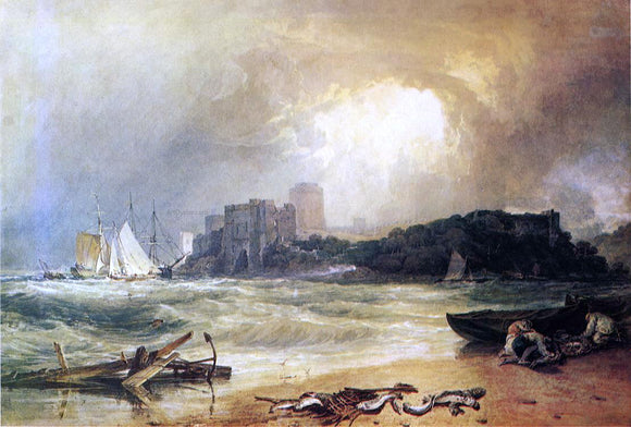Joseph William Turner Pembroke Caselt, South Wales: Thunder Storm Approaching - Canvas Art Print