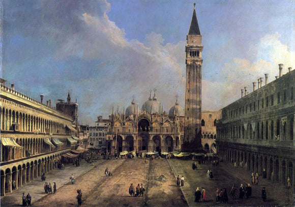 Canaletto Piazza San Marco: Looking East along the Central Line - Canvas Art Print