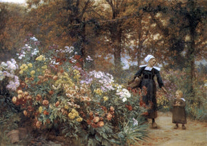 Theophile-Louis Deyrolle Picking Flowers - Canvas Art Print
