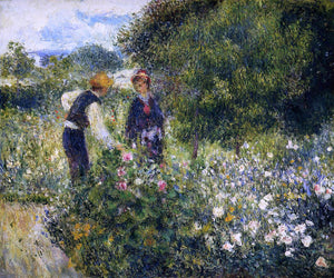 Pierre Auguste Renoir Picking Flowers - Canvas Art Print