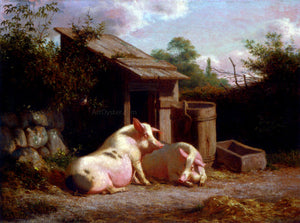Carl Henrik Bogh Pigs in a Farmyard - Canvas Art Print