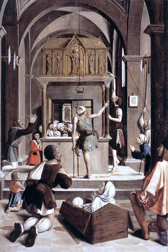 Josse Lieferinxe Pilgrims at the Tomb of St Sebastian - Canvas Art Print