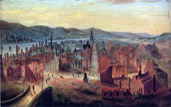 William Coventry Wall Pittsburgh after the Fire, 1845, from Boyd's Hill - Canvas Art Print