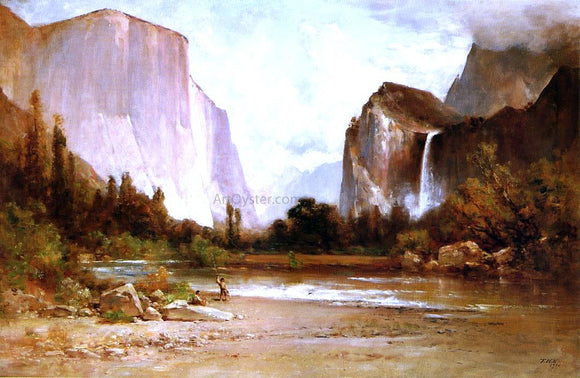 Thomas Hill Piute Indians Fishing in Yosemite - Canvas Art Print