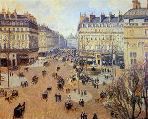 Camille Pissarro Place du Theatre Francais: Afternoon Sun in Winter - Canvas Art Print