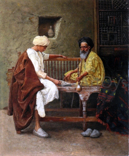 Hermann Reisz Playing a Game of Mancala - Canvas Art Print