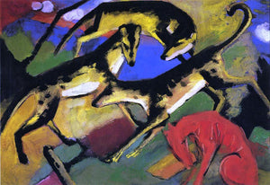 Franz Marc Playing Dogs - Canvas Art Print
