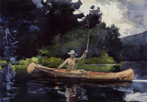 Winslow Homer Playing Him (also known as The North Woods) - Canvas Art Print