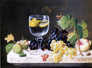 Severin Roesen Plums, Waterglass and Peaches - Canvas Art Print