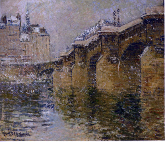 Gustave Loiseau Pont Neuf in the Snow - Canvas Art Print