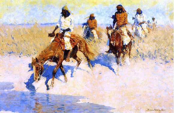 Frederic Remington Pool in the Desert - Canvas Art Print
