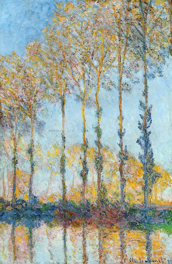 Claude Oscar Monet Poplars, White and Yellow Effect - Canvas Art Print