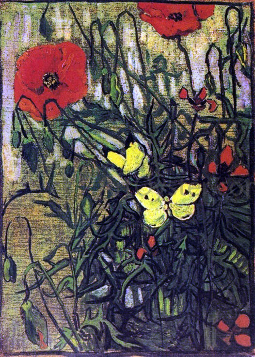 Vincent Van Gogh Poppies and Butterflies - Canvas Art Print