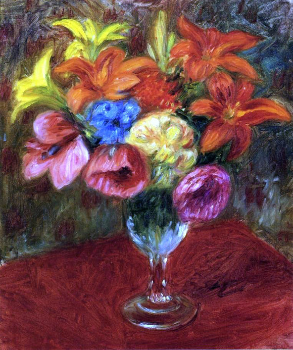 William James Glackens Poppies, Lilies and Blue Flowers - Canvas Art Print