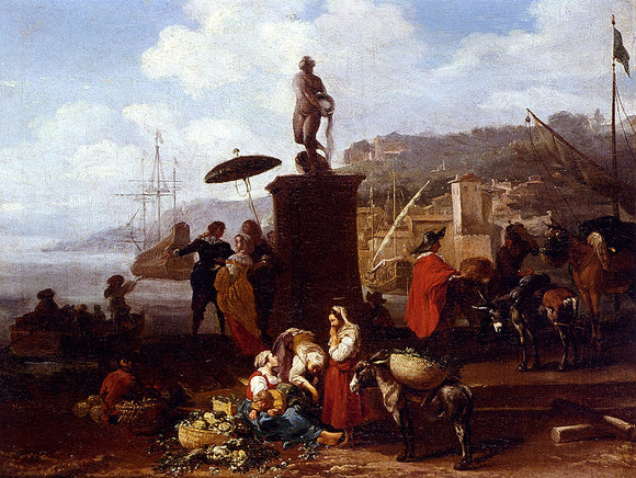 Hendrik Mommers Port Scene With Figures Gathered By A Statue - Canvas Art Print
