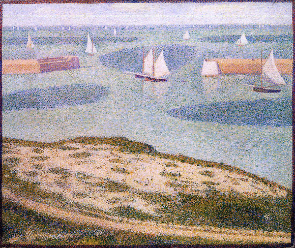 Georges Seurat Port-en-Bessin, Entrance to the Outer Harbor - Canvas Art Print