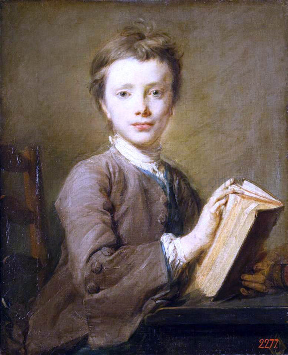 Jean-Baptiste Perronneau Portrait of a Boy with a Book - Canvas Art Print