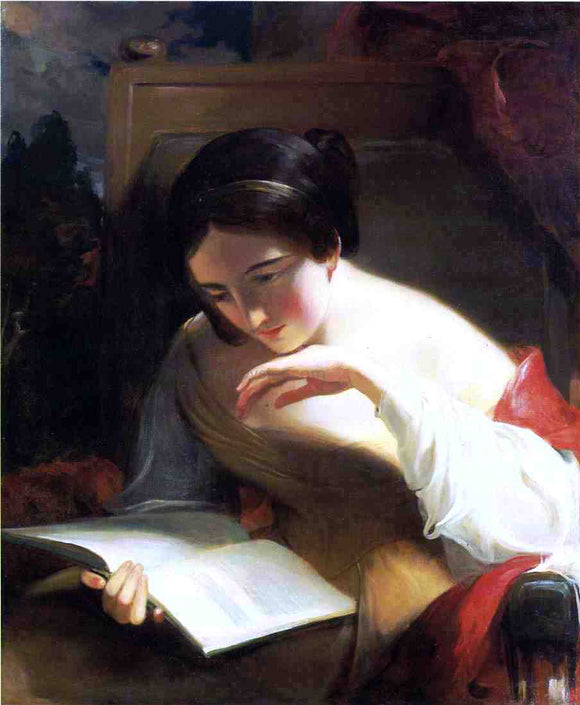Thomas Sully Portrait of a Girl Reading - Canvas Art Print