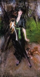 Giovanni Boldini Portrait of a Lady, Lina Bilitis, with Two Pekinese - Canvas Art Print