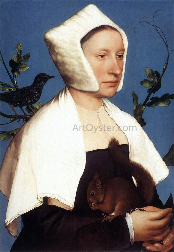 The Younger Hans Holbein Portrait of a Lady with a Squirrel and a Starling - Canvas Art Print