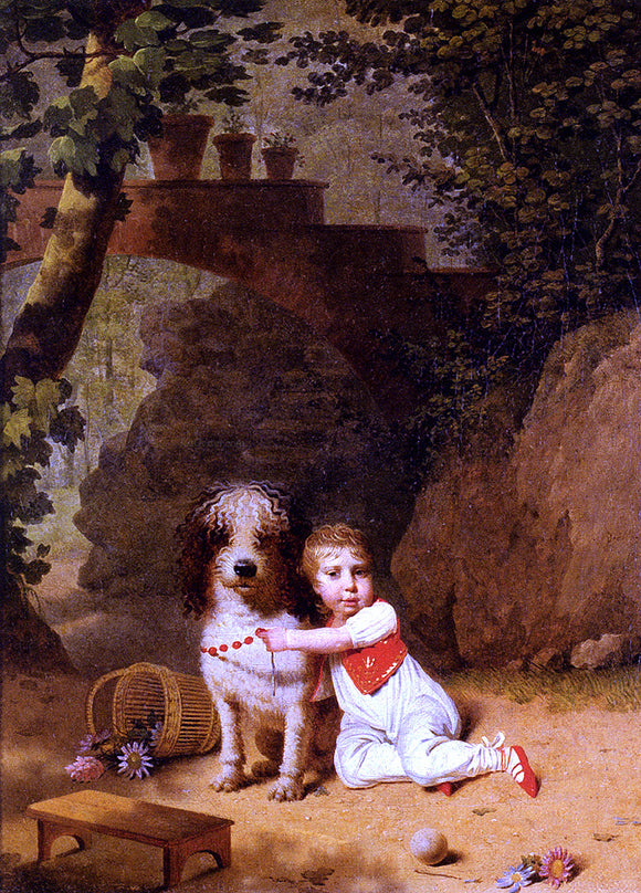 Martin Drolling Portrait Of A Little Boy Placing A Coral Necklace On A Dog, Both Seated In A Parkland Setting - Canvas Art Print