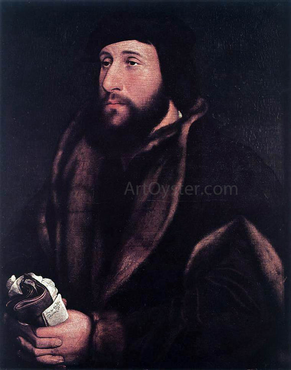 The Younger Hans Holbein Portrait of a Man Holding Gloves and Letter - Canvas Art Print