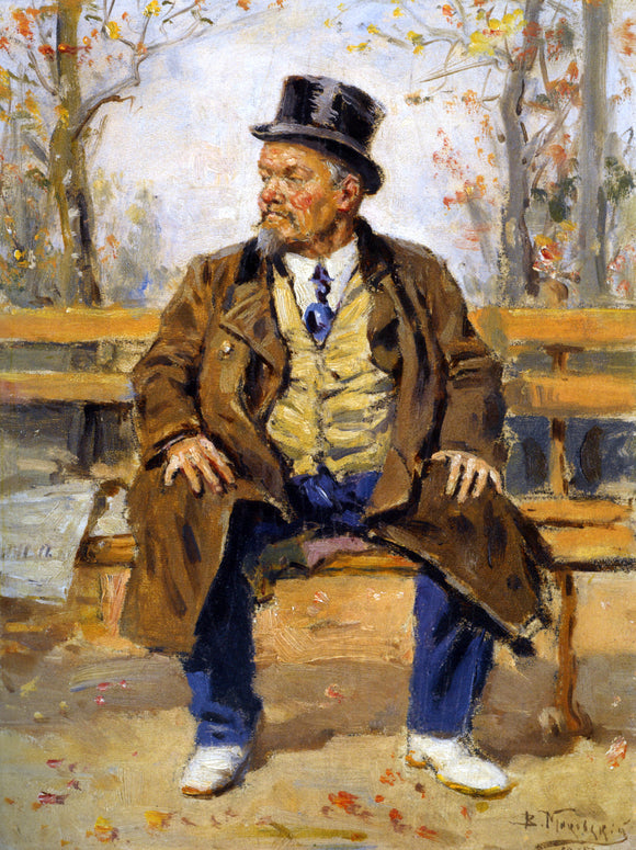 Vladimir Egorovich Makovsky A Portrait of a Man Sitting on a Park Bench - Canvas Art Print