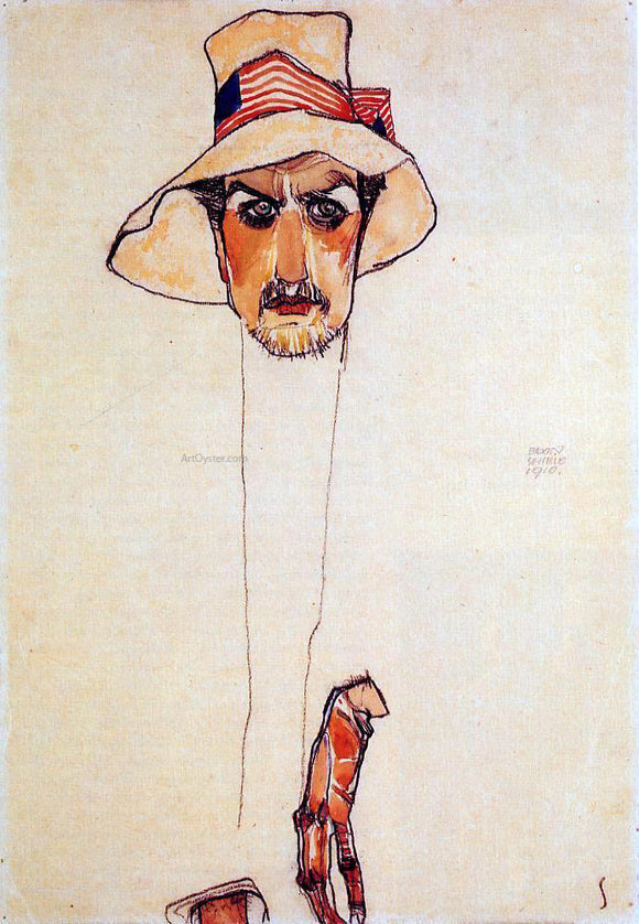 Egon Schiele Portrait of a Man with a Floppy Hat (also known as Portrait of Erwin Dominilk Osen) - Canvas Art Print