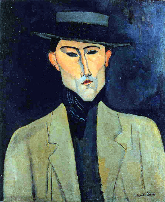 Amedeo Modigliani Portrait of a Man with Hat (also known as Jose Pacheco?) - Canvas Art Print