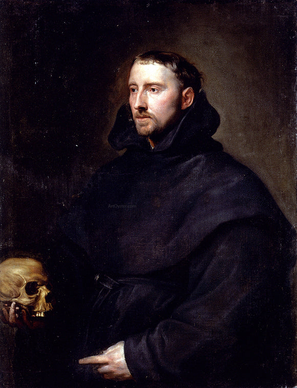 Sir Antony Van Dyck Portrait Of A Monk Of The Benedictine Order, Holding A Skull - Canvas Art Print