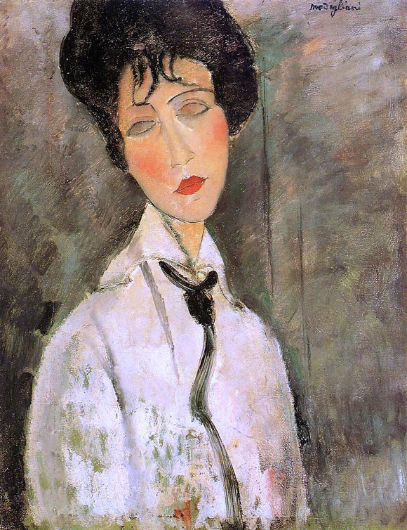 Amedeo Modigliani Portrait of a Woman in a Black Tie - Canvas Art Print