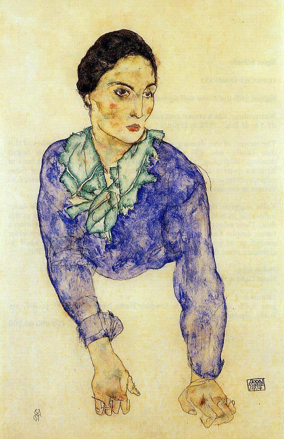 Egon Schiele Portrait of a Woman with Blue and Green Scarf - Canvas Art Print