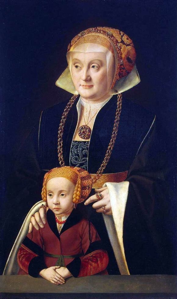 Barthel Bruyn Portrait of a Woman with her Daughter - Canvas Art Print