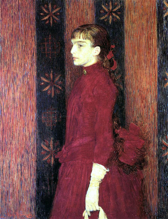 Theo Van Rysselberghe Portrait of a Young Girl in Red - Canvas Art Print