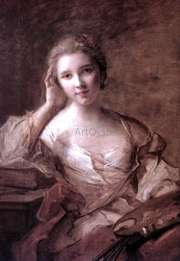 Jean-Marc Nattier Portrait of a Young Woman Painter - Canvas Art Print
