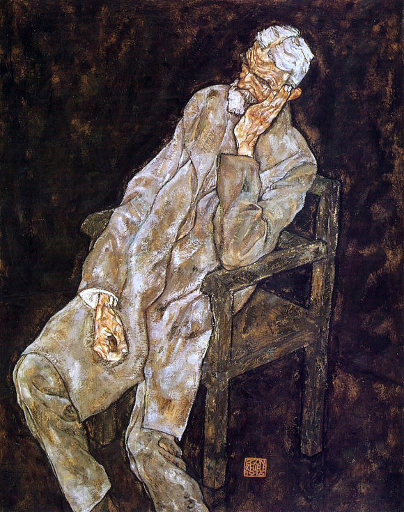 Egon Schiele Portrait of an Old Man (also known as Johann Harms) - Canvas Art Print