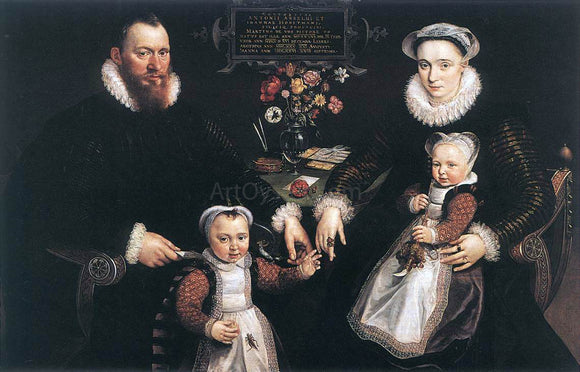 Marten De Vos Portrait of Antonius Anselmus, His Wife and Their Children - Canvas Art Print