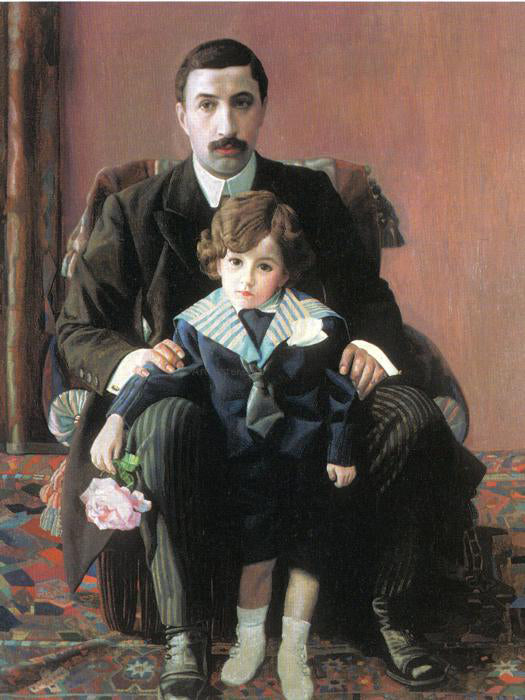 Pavel Filonov Portrait of Arman Frantsevich Aziber and His Son - Canvas Art Print