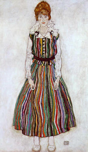 Egon Schiele Portrait of Edith Schiele in a Striped Dress - Canvas Art Print