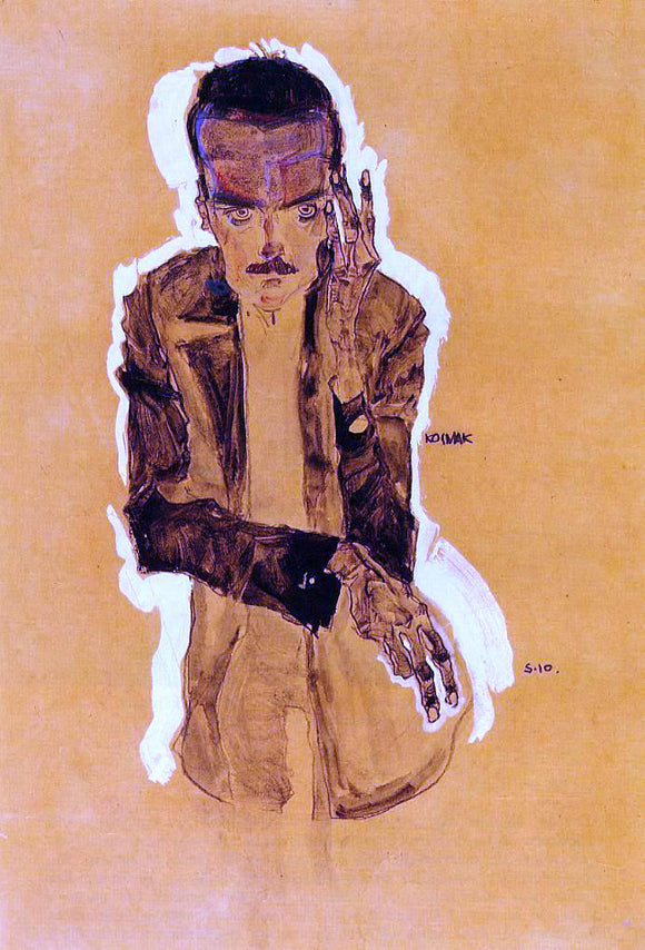 Egon Schiele Portrait of Eduard Kosmack with Raised Left Hand - Canvas Art Print