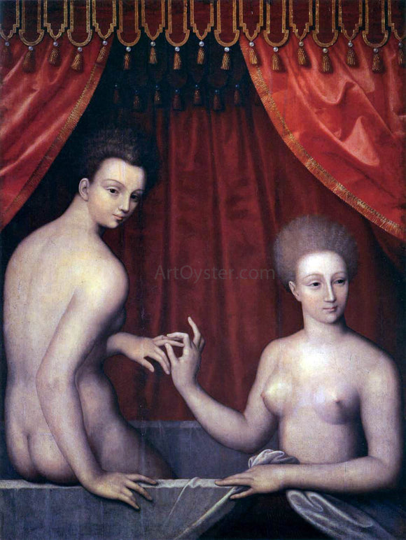 Masters of the Fontainebleau School Portrait of Gabrielle d'Estrees with her Sister - Canvas Art Print